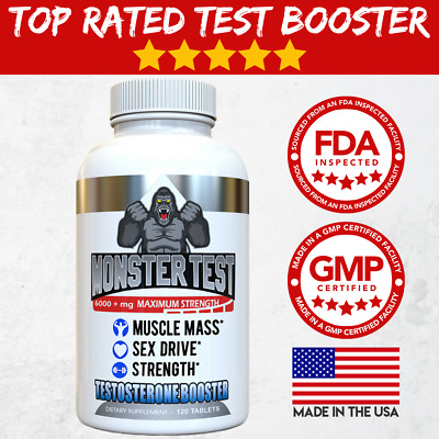 Angry Supplements Monster Test Testosterone Booster All Natural 120-Ct Bottle