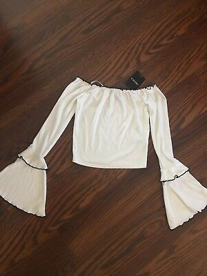 Forever 21 Bell Sleeve Off The Shoulder Top Small NWT ivory Black