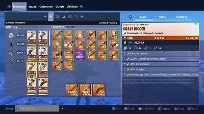PS4 Fortnite Save The World - Grave Digger Power Level 106 Shadowshard