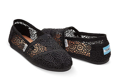 Toms Authentic Black Morocco Crochet Toms Shoes Brand New
