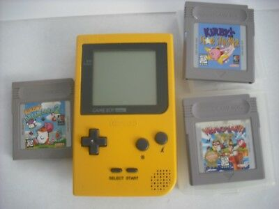 Nintendo Game Boy Pocket Yellow Handheld System lot of 3 VIDEO GAMES KIRBY wario