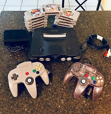 Nintendo 64 Console NTSC Lot 11 Games 2 Controller Cables Bomberman Star Wars