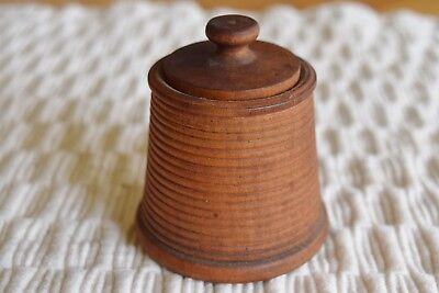 Vintage Wood Treenware Covered Spice Box Antique Woodenware Primitive Container