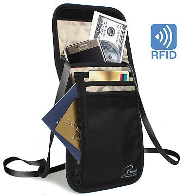 Travel Passport Wallet Bag ID Holders with Card Slots Neck Strap Zipper w RFID