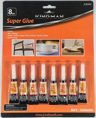 8 Tubes Super Glue  Strong Adhesive CYANOACRYLATE 3 grams BU-83045