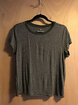 American Eagle Soft - Sexy Striped Stretch Crew T-Shirt Sz L Gray Outfitters