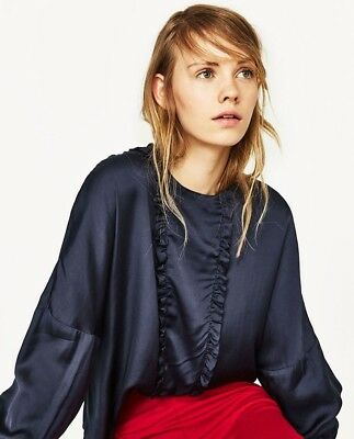 ZARA Blue Long Dropped Sleeves Frilled Sateen New Blouse Size S ALL NEW