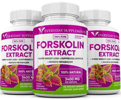 3 x Forskolin Maximum Strength 100 Pure 3400mg Rapid Results Forskolin Extract