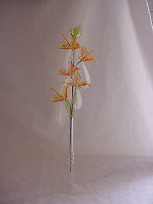 glass flowers ORANGE AND WHITE COMBO