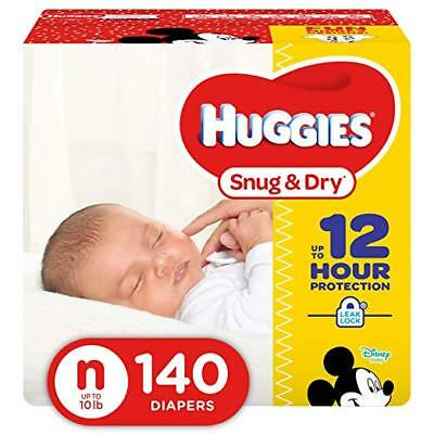 NEW Huggies Snug - Dry Diapers Size Newborn 140 Count FREE SHIPPING