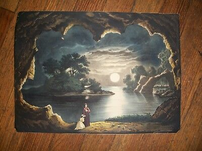 Vintage Lithograph of  Surreal Medieval scene with Moon in Distance