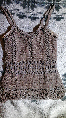 WET SEAL BROWN CROCHET LACE TANK TOP SMALL NWOT