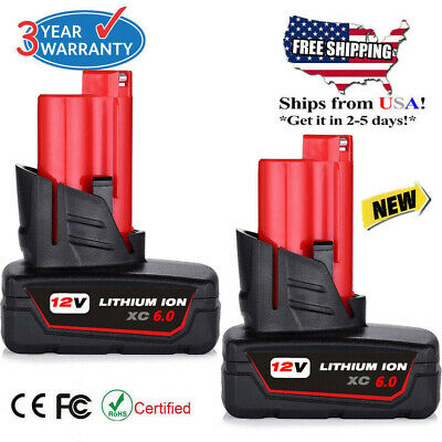 2X 12V For Milwaukee 48-11-2460 M12 LITHIUM ION XC 4-0 Extended Capacity Battery