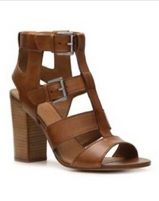 Aldo Brown Leather Sandals With Block Heel - Size 8