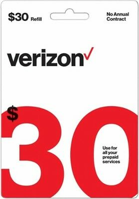 Verizon Wireless- 30 Refill  Top-Up Airtime Card for Verizon Prepaid Service
