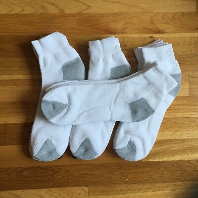 3 6 12 Pairs White Ankle Socks Gray Heel Sports Everyday Wear Size 9-11 10-13