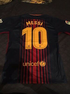 Lionel Messi Barcelona FC 20172018 Home Kit Adult M S Nike Soccer Futbol