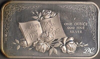 Mothers Day May 13th 1973   1 OZ Fine Silver Art Bar