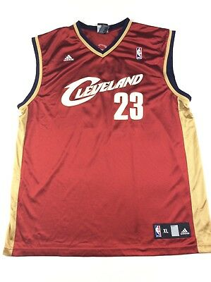Adidas Lebron James 23 NBA Cleveland Basketball Jersey Sz XL Red Gold B4