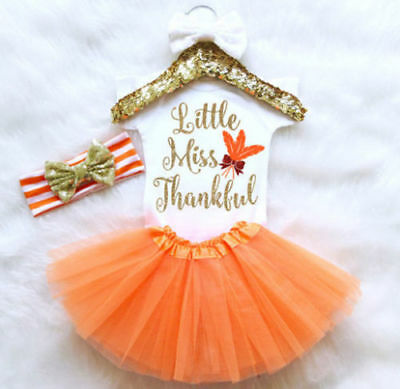 Newborn Infant Baby Girl Thanksgiving Romper Fancy Tutu Dress Outfit Clothes