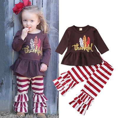 US Children Kids Baby Girl Thanksgiving Dress Tops Stripe Pants Outfits Clothes
