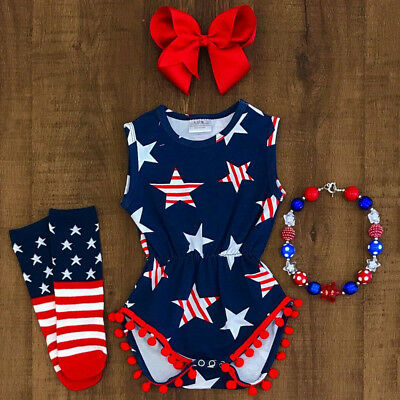 US Fourth of July Newborn Baby Girls Romper Jumpsuit Playsuit Bodysuit Outfits