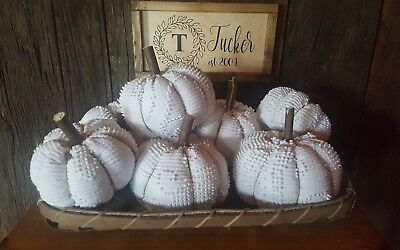 White Chenille Pumpkin Handmade AutumnFallThanksgiving Farmhouse Decorations