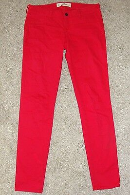 Looks New Womens Hollister Co Jeans Sz 5 Red Mid Rise Skinny Stretch