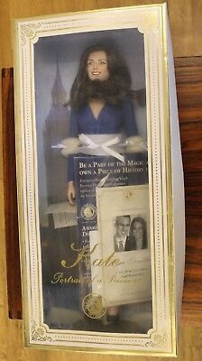 RARE Franklin Mint - Vinyl Kate Middleton Engagement Doll 15 Tall  with Box