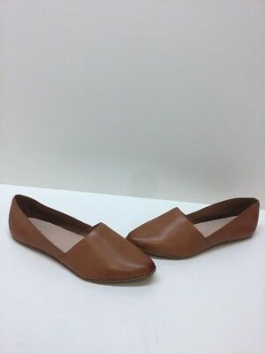 ALDO Cognac Brown Leather Pointed Toe Slip On Flats Womens Size 10