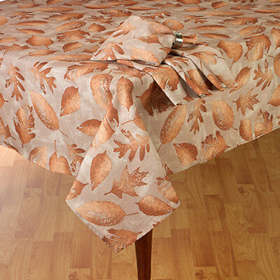 Thanksgiving Fall Decor Tablecloth Shimmery Bronze Leaves 60x 84 Oval Polyester