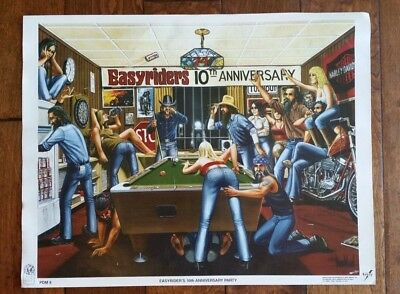 DAVID MANN Motorcycle Poster Art Print  EASYRIDERS 10TH ANNIVERSARY PDM8