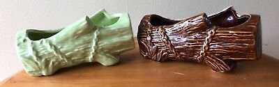 2 McCOY Pottery Log and Chain PLANTERS 7 14 1 Brown 1 Green