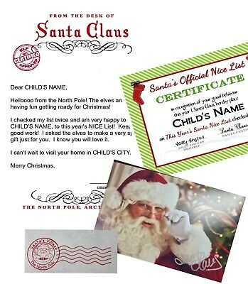 PERSONALIZED LETTER from SANTA with Nice List Certificate - Autographed Photo