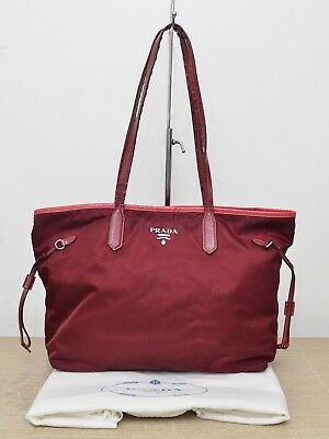 Prada Nylon Shopping Tote Saffiano Leather Trims in Bordeaux Red Used  Authentic fe1910d0f13