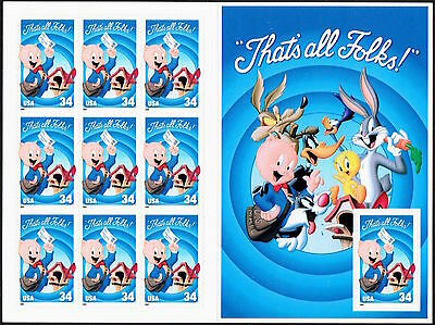 Porky Pig Thats All Folks Looney Tunes 3534 Booklet Pane 10 x34¢ Stamps 2001
