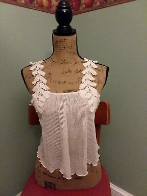 Wet Seal Ivory Knitted Sheer Tank crop Top Small