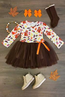 US Newborn Baby Girl Thanksgiving Outfits Long Sleeve Turkey  Tulle Tutu Dresses