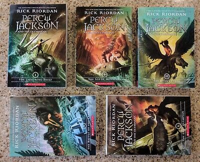 New Percy Jackson and the Olympians 5 Book Paperback Series Set by Rick Riordan