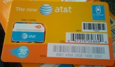 AT-T STANDARD 2FF SIM Card • GSM 3G • NEW OEM Prepaid or Contract