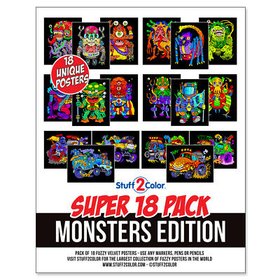 Super Pack of 18 Fuzzy Velvet 8x10 Inch Posters Monsters Edition