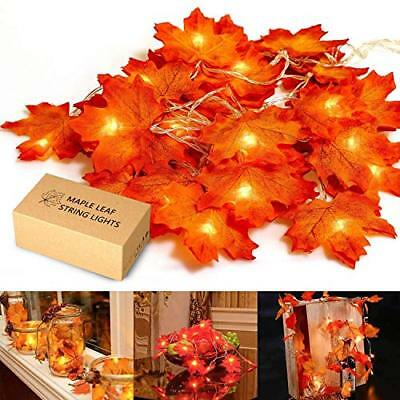 MiMoo Thanksgiving Maple Leaf 20LED 6-56ft Battery Powered Harvest Fall