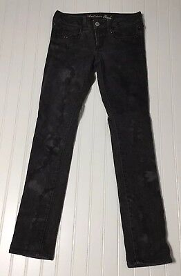 AMERICAN EAGLE OUTFITTERS Women's Sz 8 Skinny Studded Printed Black Denim Jeans