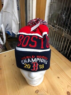 Boston Red Sox World Series Champions Blue Winter Hat Pom Pom bluered 2018