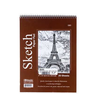 30 Sheets 9X12 Side Bound Spiral Premium Sketch Book Paper Pad Drawing Artist