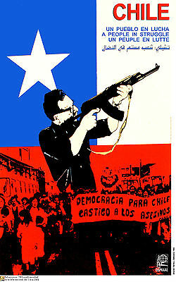 Political OSPAAAL POSTER-ALLENDE Fighting-Chile art-Pinochet-Chilean Fascism-42