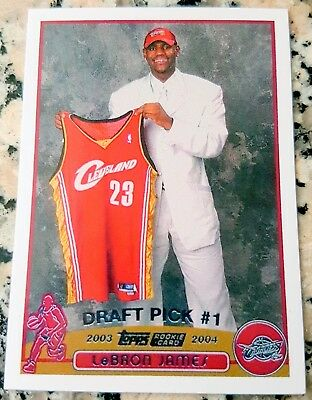 LEBRON JAMES 2003 Topps 1 Draft Pick Rookie Card RC Cavaliers Champs Reprint