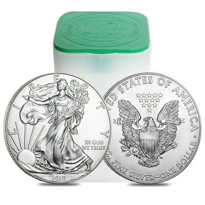 Roll of 20 - 2019 1 oz Silver American Eagle 1 Coin BU Lot Tube of 20