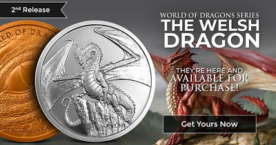 THE WELSH DRAGON 1 oz Silver Round Coin  World of Dragons - 2 of 6 - In-Stock