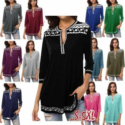 Womens T-shirt Printed Blouse Casual Loose Tops 34 Sleeve V-neck Pullover New